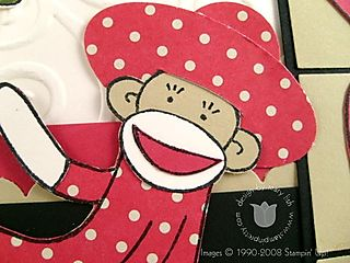 Stampin up lovely sock monkey close