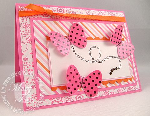 Stampin up flight of the butterflies pink