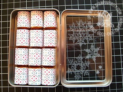 Stampin up scandinavian season nugget tin snowflake open