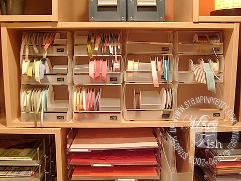 Stampin up ribbon storage and organization