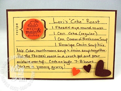Stampin up from the kitchen recipe card