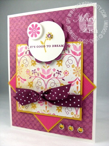 Stampin UP RAZZLEBERRY LEMONADE DSP Mini Card Kit Includes Card Stock and Ribbon