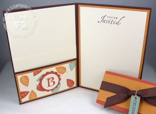 Stampin up darling dots wedding invitation open