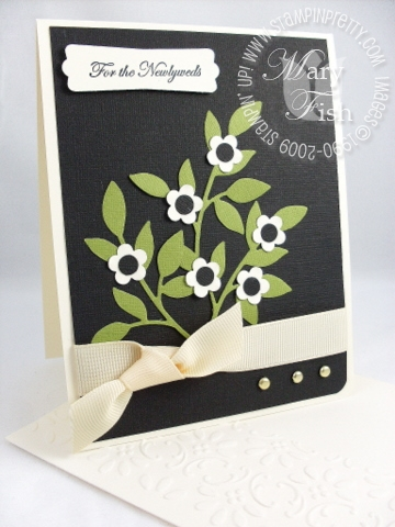 Stampin up sizzlits little leaves wedding card