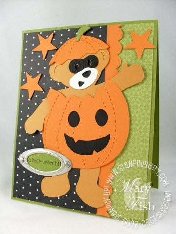 Stampin up build a bear halloween pumpkin