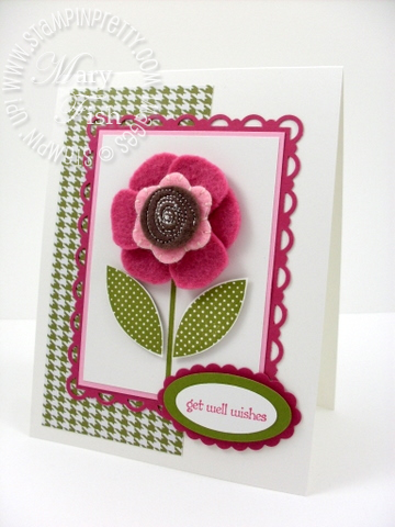 Stampin up sweet pea stitched felt flower