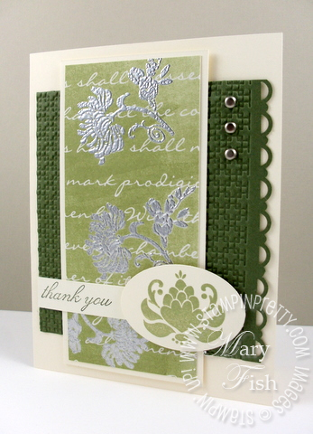 Stampin up friends never fade silver emboss