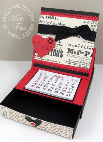 Stampin up desktop calendar box open