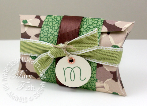 Stampin up pillow box sweet shoppe alphabet