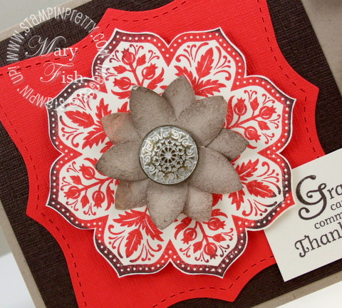 Stampin up day of gratitude felt flower antique brad