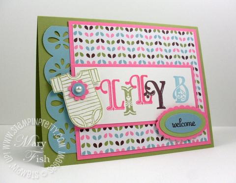 Stampin up broadsheet alphabet baby card