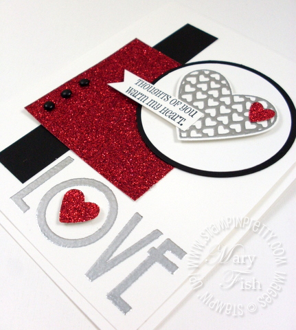 Stampin up mojo monday glimmer paper filled with love