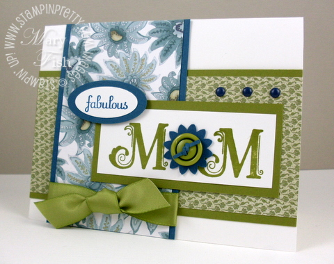 Stampin up pretty broadsheet alphabet mothers day card