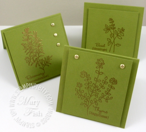 Stampin up herb expressions rubber stamp card idea set