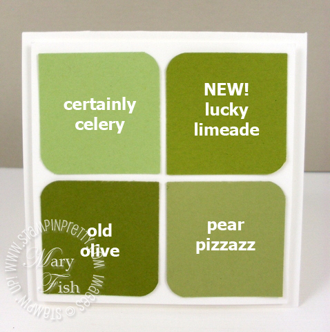 Stampin up in colors square punch lucky limeade