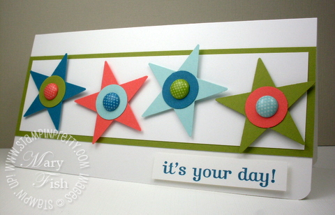 Stampin up star circle punch catalog birthday card rubber stamp