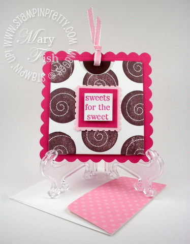 Stampin up sweets for the sweet pocket card big shot scallop square