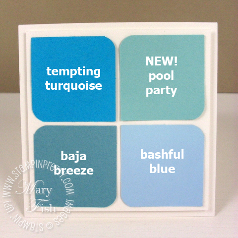 Stampin up in colors square punch pool party