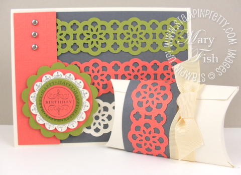 Stampin up lace ribbon border punch happiest birthday wishes card
