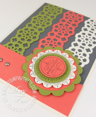 Stampin up lace ribbon border punch birthday card rubber stamps