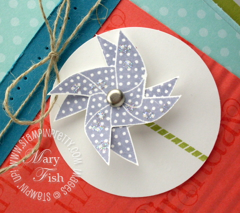 Stampin up rubber stamp pinwheel card idea dazzling diamonds glitter