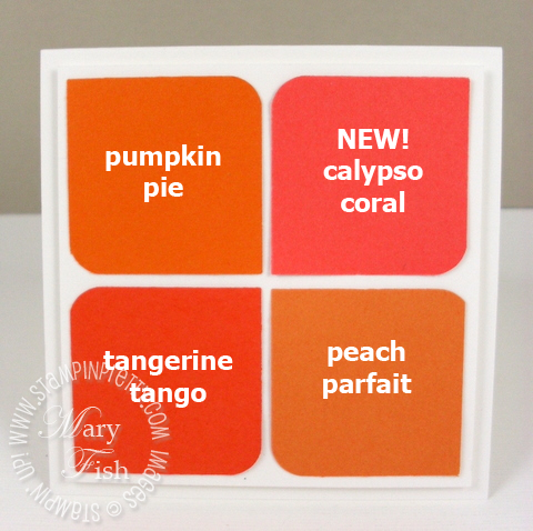 Stampin up in colors square punch calypso coral