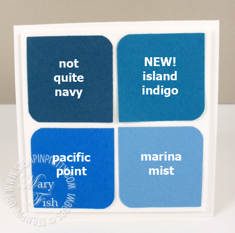 Stampin up in colors square punch island indigo