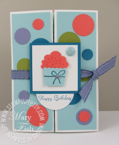 Stampin up create a cupcake punch gate fold card idea