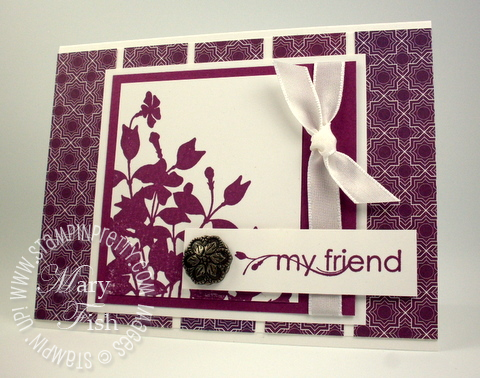 Stampin up my friend rubber stamps antique brads card idea