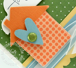 Stampin up chipboard heart punch on board merry medley