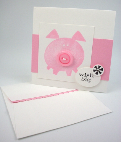 Stampin up button buddies pretty in pink pig  mini envelope