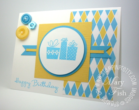 Stampin up patterned party rubber stamps mojo monday birthday card