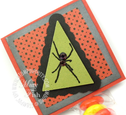 Stampin up scaredy cat rubber stamp spider embossed rhinestone