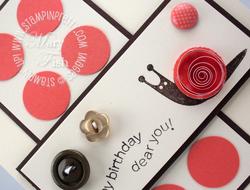 Stampin up button buddies birthday card idea quilling technique