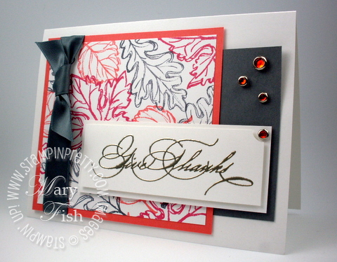 Stampin up falling leaves rubber stamps thank you card sample blog idea 2