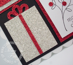Stampin up triple layer punch silver red glitter holiday mini catalog paper