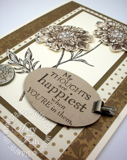 Stampin up field flowers rubber stamp card sample idea oval punch