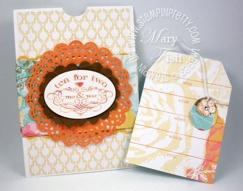 Stampin up tea shoppe shop rubber stamps tea bag invitation card idea