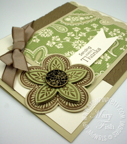 Stampin up holiday mini catalog fancy flower 5 petal punch demonstrator card idea