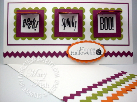 Stampin up peekaboo frames halloween card idea punch big shot die