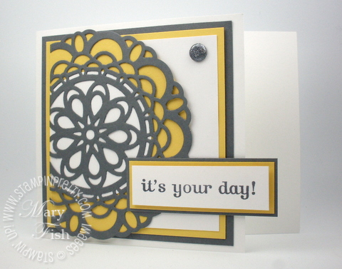 Stampin up doily sizzlits die big shot catalog birthday card