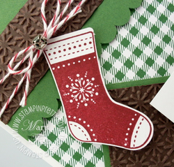 Stampin up stitched stocking builder punch holiday card idea