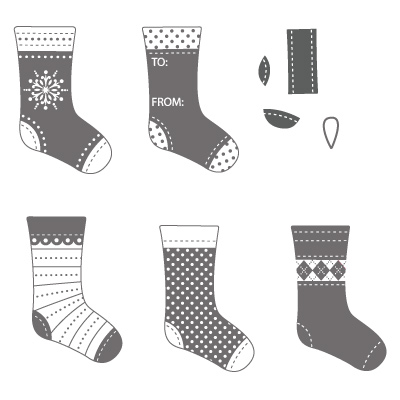 Stitched stockings rubber stamps stampin up