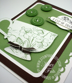 Stampin up rubber stamp tea shoppe cup border punch catalog peek