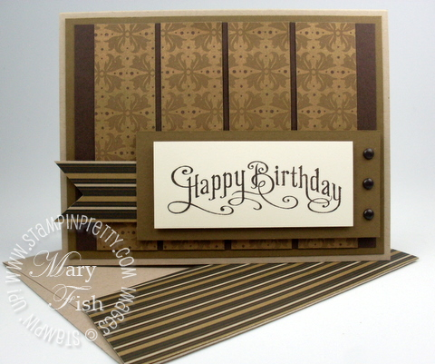 Stampin up masculine card idea square punch perfectly penned rubber stamp