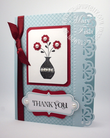 Stampin up simply sent everyday elegance decorative label punch thank you card idea