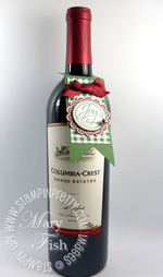 Stampin up demonstrator video tutorial wine bottle tag holiday gift idea