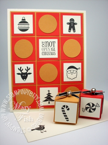 Stampin up jolly bingo bits petal card double punch box holiday card