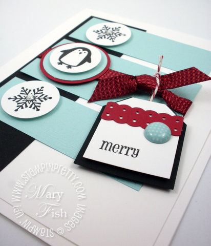 Stampin up holiday card idea jolly bingo bits rubber stamp tag punch