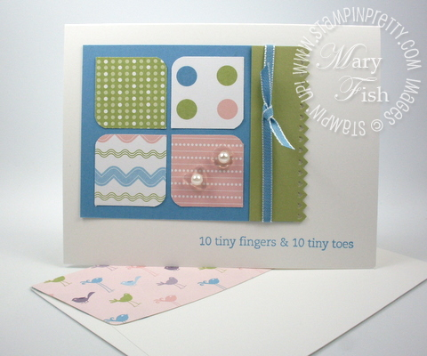 Stampin up baby card idea nursery nest square punch envelope
